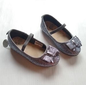 CARTERS toddler girl gray sparkly bow flats